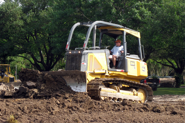 Mike Gogel operates a bulldozer